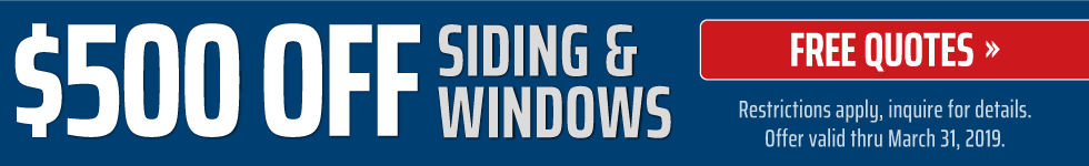 500 off siding and windows